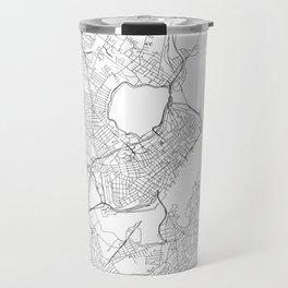 Portland Maine White Map Travel Mug