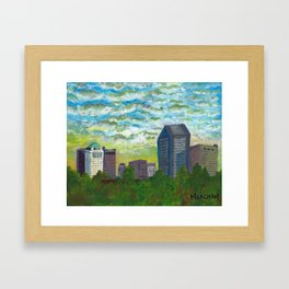Columbus Skyline from Scioto Audubon Park Framed Art Print