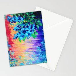 SHADES OF BEAUTIFUL - Stunning Bright BOLD Rainbow Ombre Pattern Blue Floral Hyacinth Nature Autumn Stationery Cards