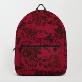 Vintage black gray red bohemian floral pattern Backpack
