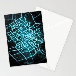 Kitchener, ON, Canada, Blue, White, Neon, Glow, City, Map Stationery Cards