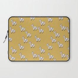 Cute little baby Llama alpaca illustration pattern neutral nursery ochre yellow Laptop Sleeve