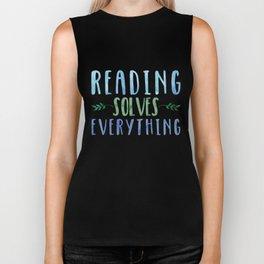 Reading Solves Everything (Green/Blue) Biker Tank