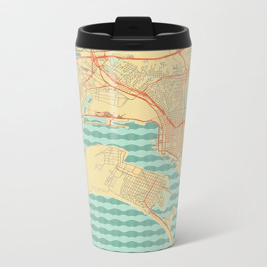 San Diego Map Retro Metal Travel Mug