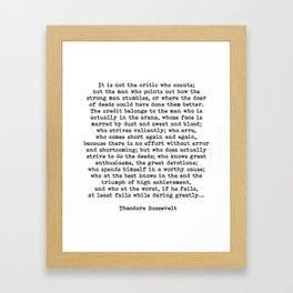 Man In The Arena Theodore Roosevelt Quote Framed Art Print