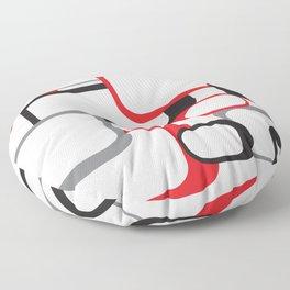 Red Black Gray Retro Square Pattern White Floor Pillow