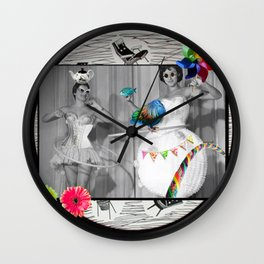 Hooping Homemakers with a blue fish (and other things) Wall Clock