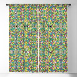Odd creatures having fun by multiplying in a seamless pattern design Blackout Curtain