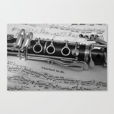 B Flat Clarinet in Black & White Canvas Print