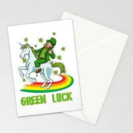 Leprechaun Rides A Unicorn On A Rainbow Stationery Cards