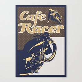 retro cafe racer motorcycle poster Canvas Print