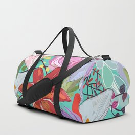 Lily and colorful flowers pattern green background Duffle Bag