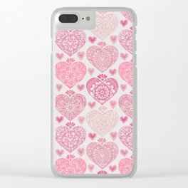 Pink Heart Valentine's Doilies Pattern Clear iPhone Case