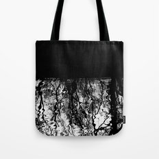 Black and White Tree Branch Silhouette Reflections Tote Bag