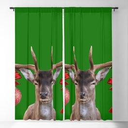 Reindeer Head Illustration - X-mas green Blackout Curtain