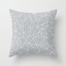 Abstract Lines 2 White on Grey Throw Pillow