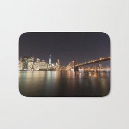 Manhattan Lights including Brooklyn Bridge, One World Trade Bath Mat
