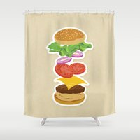 burger Shower Curtains featuring Burger by Daily Design