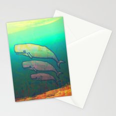 Whales Swimming Together Stationery Cards