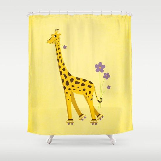 Yellow Funny Roller Skating Giraffe Shower Curtain