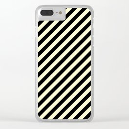 Cream Yellow and Black Diagonal RTL Stripes Clear iPhone Case