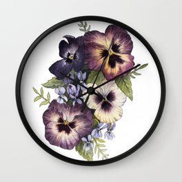 Watercolor Pansy Bouquet Wall Clock
