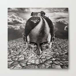 Inhabited Head Grayscale Metal Print