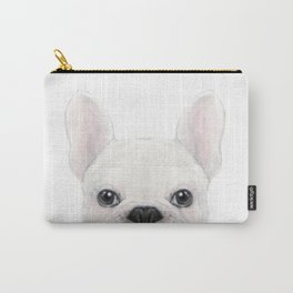 French bulldog white Dog illustration original painting print Carry-All Pouch