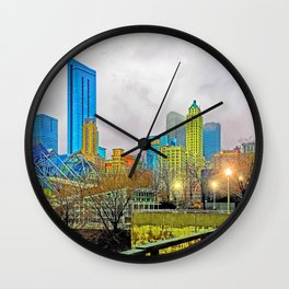Windy City Cloudy Day Wall Clock