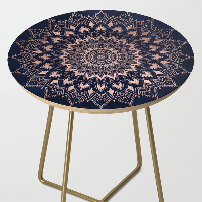 promo code 31da7 02396 Boho rose gold floral mandala on navy blue watercolor Side Table by  girlytrend