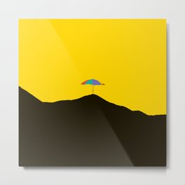 Colorful Umbrella On A Black Mountain In A Yellow Background - #society6 #buyart Metal Print