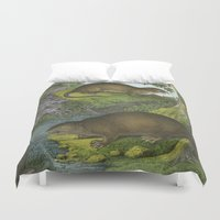 beaver Duvet Covers featuring Beaver & Friend by Connie Goldman