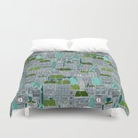 tennis Duvet Covers featuring rooftop tennis by Sharon Turner