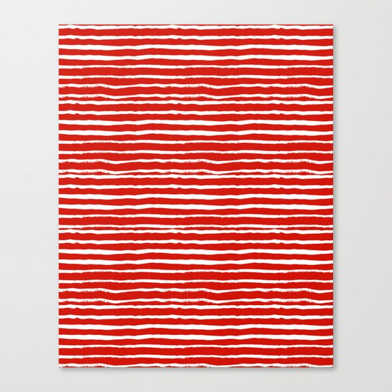 Minimal Christmas red and white holiday pattern stripes candy cane stripe pattern Canvas Print