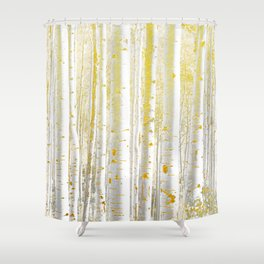 Gold Birch Forest Shower Curtain