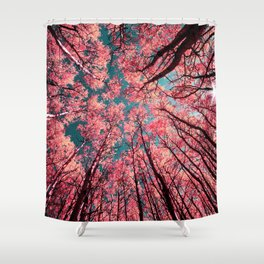 Glance Upward Vibrant Living Coral Trees Teal Sky Shower Curtain