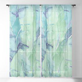 Banana Tree Leaves   Tropical  BLUE Watercolor Sheer Curtain