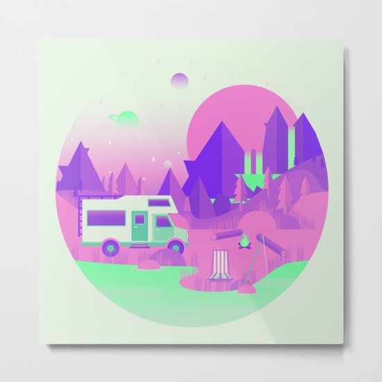 Outer Space Camping Metal Print
