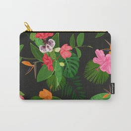 Red, orange, pink hibiscus and heaven bird flowers and tropical leaves pattern black background Carry-All Pouch