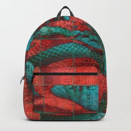 Abstract Red and Teal Snack on Leather Texture Backpack