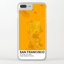 san francisco city map color Clear iPhone Case