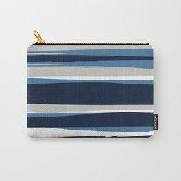Striped Modern Beach Landscape Blue Grey Carry-All Pouch