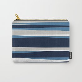 Ocean Beach Striped Landscape, Navy, Blue, Gray Carry-All Pouch