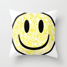 Splattered Smiley Face Throw Pillow
