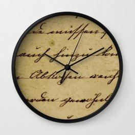 handwriting old paper design pattern Wall Clock