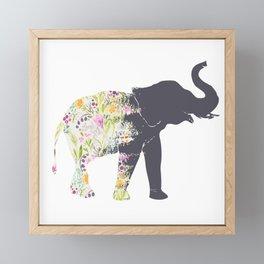 Floral Elephant Animal Print Framed Mini Art Print