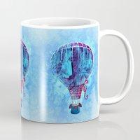 hot air balloon Mugs featuring Hot Air Balloon Love by Berberism