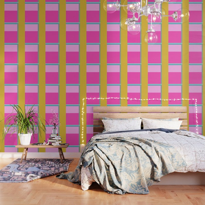 Geometric Bauhaus Style Color Block in Bright Colors Wallpaper