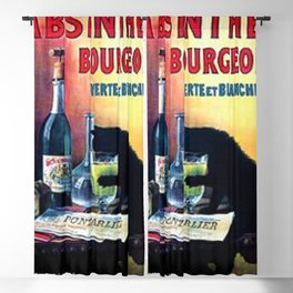 Marque Deposee Bad Cat Drinking Absinthe Bourgeois Lithograph Wall Art Blackout Curtain