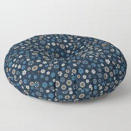 Festive Blue Snowflake Pattern Floor Pillow